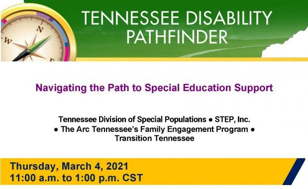 Flyer of Webinar training called Navigating the Path to Special Education Support