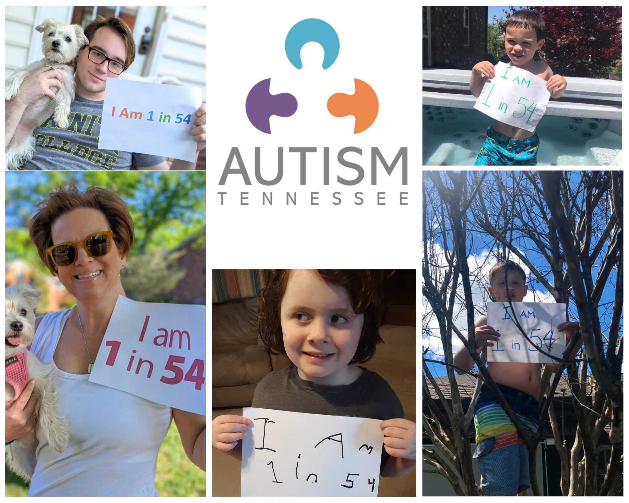 """AutismTN logo top center with images of 2 adults to the left, 1 child center bottom, and 2 children to the right, all holding signs that say """"I am 1 in 54"""""""