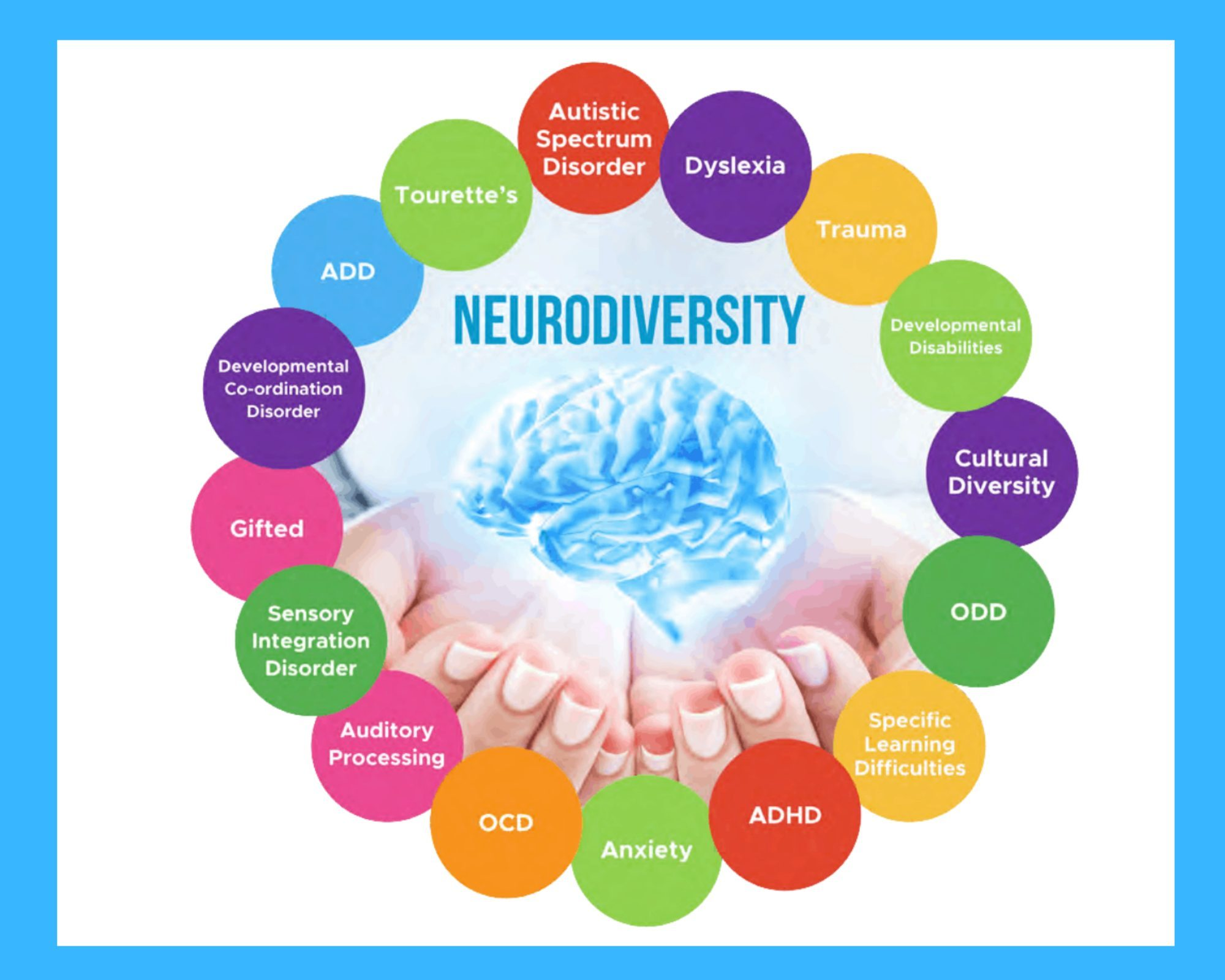 Neurodiversity image with open hands with brain inside hands all surrounded by a circle of definitions