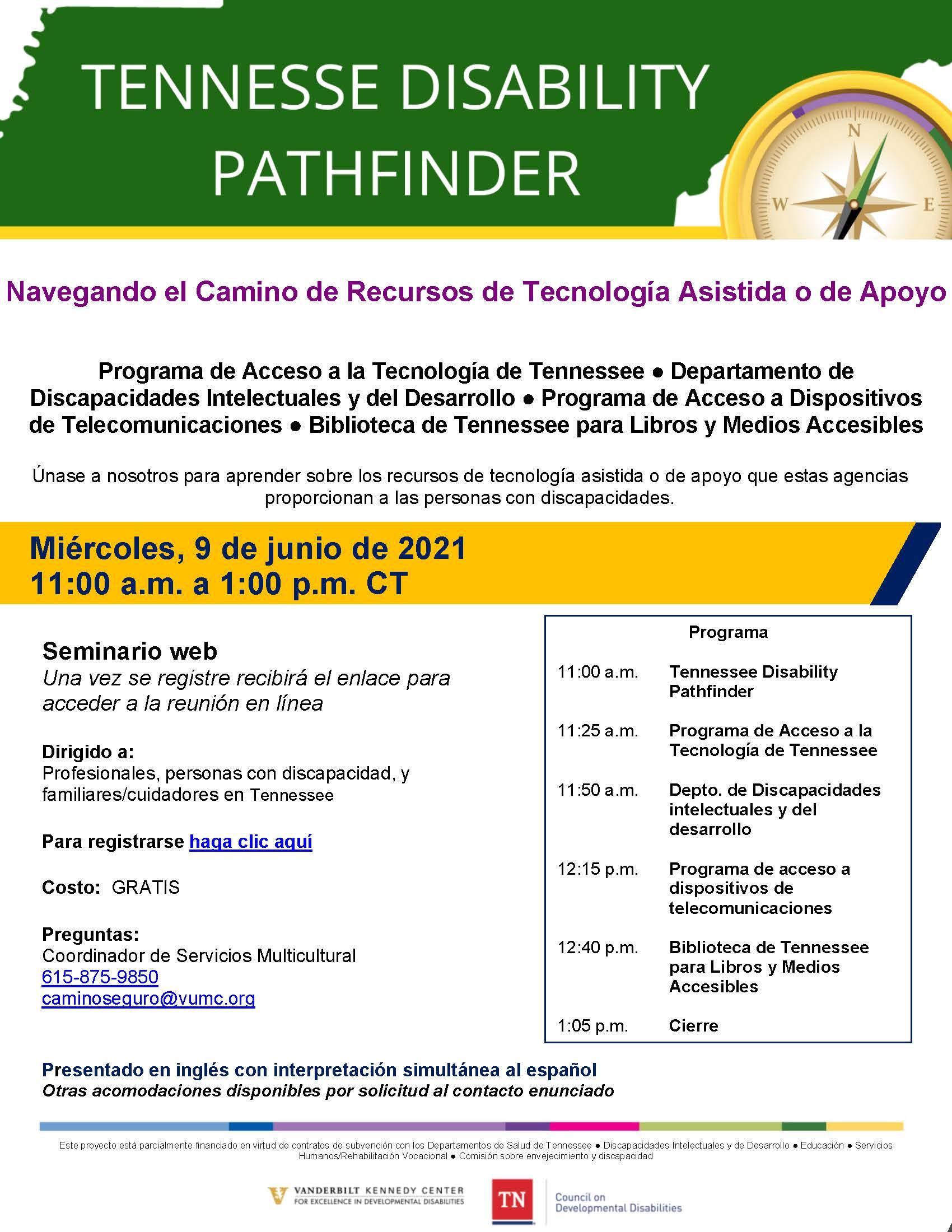 """Infografía para """"Navegar por el camino hacia los recursos de tecnología de asistencia/habilitación"""" de TN Pathfinder."""