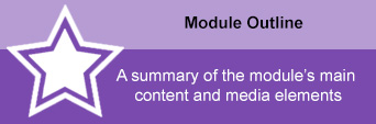 """Purple Module Outline with text """"A summary of the module's main content and media elements."""""""