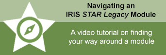"""Green Navigating an IRIS STAR Legacy image with text """"A video tutorial on finding your way around a module"""""""